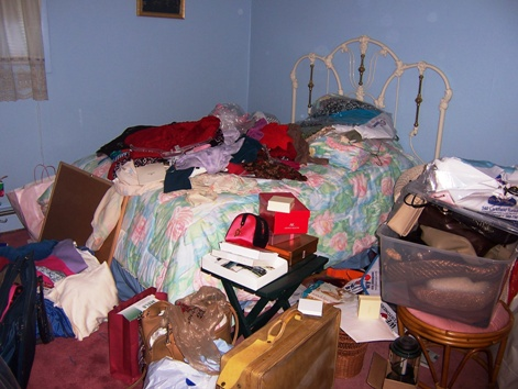 cluttered guestroom