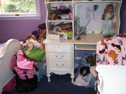 cluttered kids desk