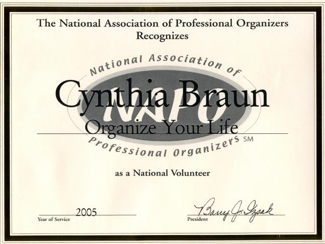 NAPO volunteer for Cynthia Braun